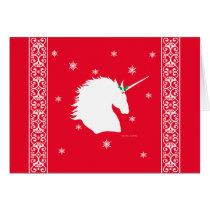 """White Unicorn Sigil"" Red Holiday Greeting Card"