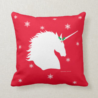 """""""White Unicorn Sigil"""" Red Holiday Throw Pillow"""