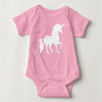 White Unicorn Silhouette Beautiful Whimsical Baby Baby Bodysuit