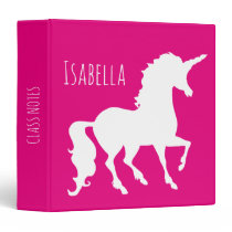 White Unicorn Silhouette Girls Personalized Pink 3 Ring Binder