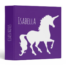 White Unicorn Silhouette Girls Personalized Purple 3 Ring Binder