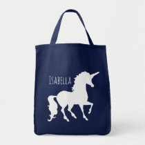 White Unicorn Silhouette Girly Kids Personalized Tote Bag