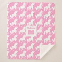 White Unicorn Silhouette Pattern Pink Personalized Sherpa Blanket