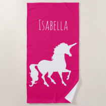 White Unicorn Silhouette Personalized Pink Girls Beach Towel