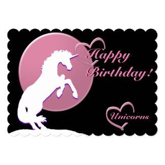 White Unicorn V (Pink) Card