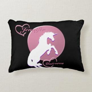 White Unicorn V (Pink) Decorative Pillow