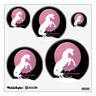 White Unicorn V (Pink) Wall Decal