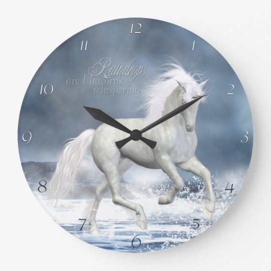 White Unicorn Wall Clock