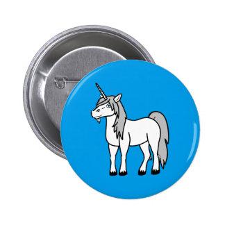 White Unicorn with Silver Mane Button