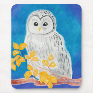 White Ural Owl Mouse Pad