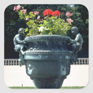 White Urn with fauns and begonias - Versailles, Fr Square Stickers