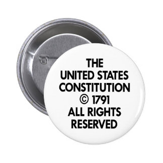 White Us Constitution Reserved Pinback Buttons