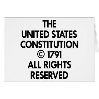 White Us Constitution Reserved Greeting Card