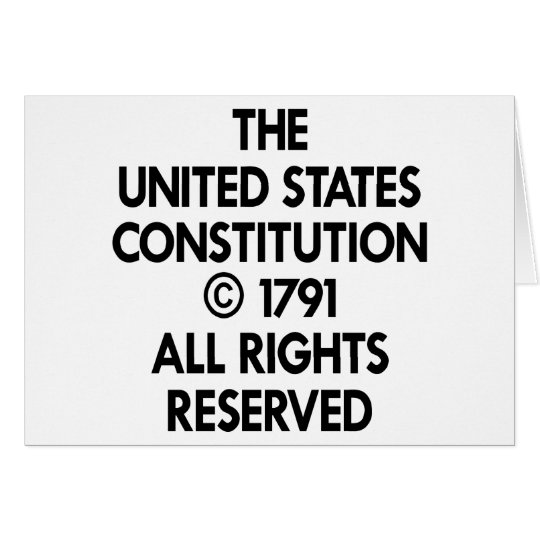 White Us Constitution Reserved Card