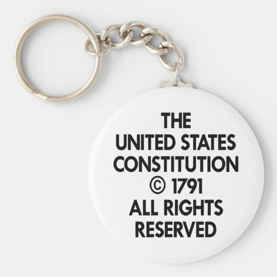 White Us Constitution Reserved Keychain