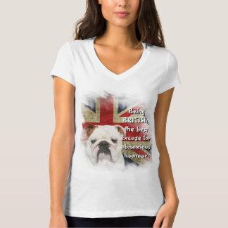 White V-Neck Top British Flag & Bulldog Desgin