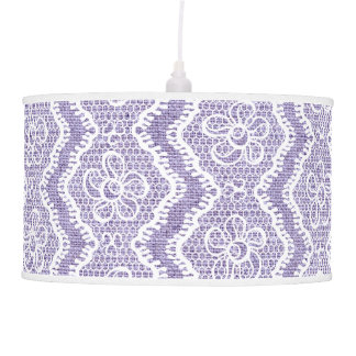 White V-shaped lace, purple burlap custom Lamp