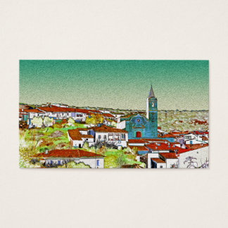 White Valdelarco in multicoloured, church and Business Card
