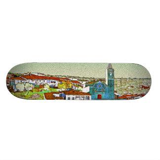 White Valdelarco in multicoloured, church and hous Skateboard