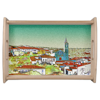 White Valdelarco in multicoloured, church and Serving Tray