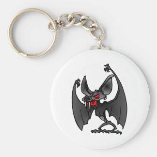 White Vampire Bat Cartoon Basic Round Button Keychain