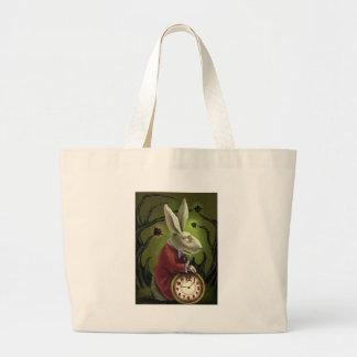 White Vampire Rabbit Tote Bags