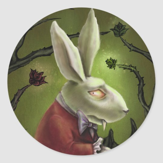 White Vampire Rabbit Classic Round Sticker