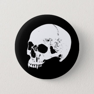 White Vampire Skull Button