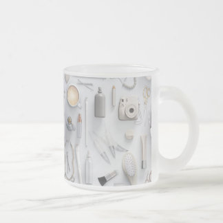 White Vanity Table Frosted Glass Coffee Mug