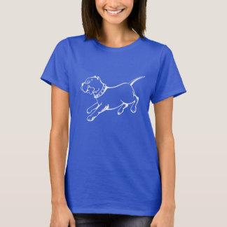 White Vector Art Pit Bull Dog-Ladies Dark T-shirt
