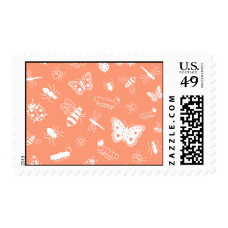 White Vector Bugs & Butterflies (Orange Back) Postage