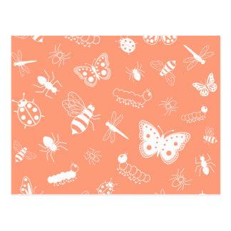 White Vector Bugs & Butterflies (Orange Back) Postcard
