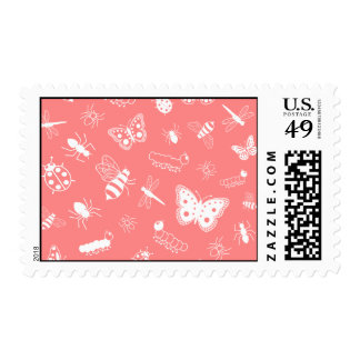 White Vector Bugs & Butterflies (Poppy Red Back) Postage