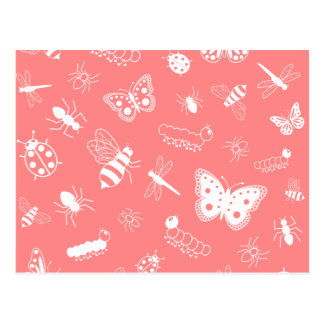 White Vector Bugs & Butterflies (Poppy Red Back) Postcards