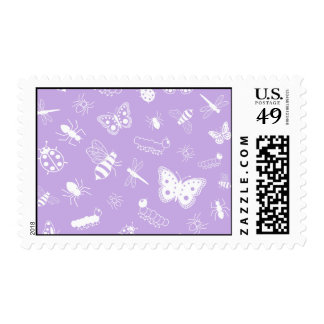 White Vector Bugs & Butterflies (Purple Back) Postage