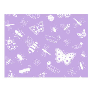 White Vector Bugs & Butterflies (Purple Back) Postcard