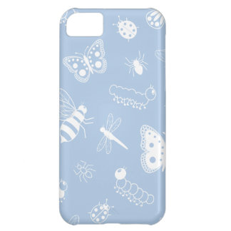 White Vector Bugs & Butterflies (Sky Blue Back) iPhone 5C Cover