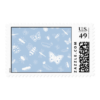White Vector Bugs & Butterflies (Sky Blue Back) Postage