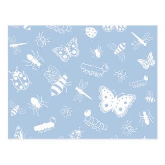 White Vector Bugs & Butterflies (Sky Blue Back) Postcard