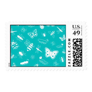 White Vector Bugs & Butterflies (Teal Background) Postage