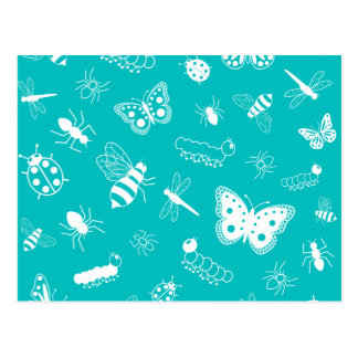 White Vector Bugs & Butterflies (Teal Background) Postcard
