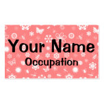 White Vector Bugs & Flowers (Poppy Red Background) Business Card
