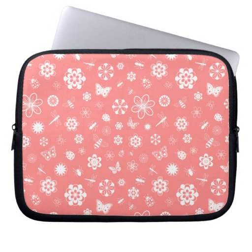 White Vector Bugs & Flowers (Poppy Red Background) Computer Sleeve