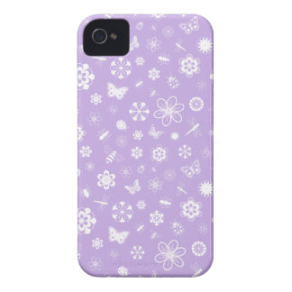 White Vector Bugs & Flowers (Purple Background) iPhone 4 Case-Mate Case