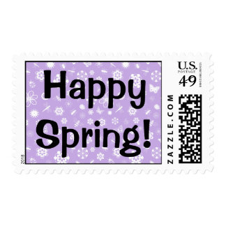 White Vector Bugs & Flowers (Purple Background) Postage