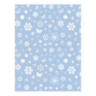 White Vector Bugs & Flowers (Sky Blue Background) Postcard
