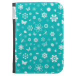 White Vector Bugs & Flowers (Teal Background) Kindle Case