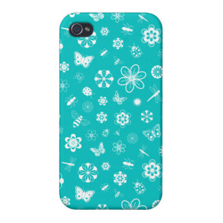 White Vector Bugs & Flowers (Teal Background) Covers For iPhone 4