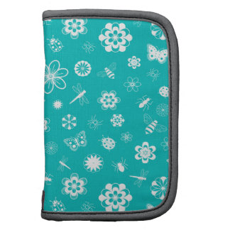 White Vector Bugs & Flowers (Teal Background) Folio Planners