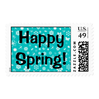White Vector Bugs & Flowers (Teal Background) Postage